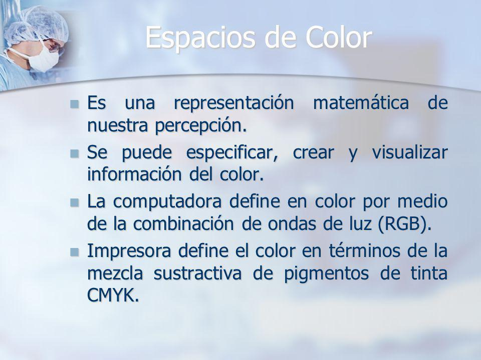 Espacios de Color Es una representación matemática de nuestra percepción. Se puede especificar, crear y visualizar información del color.
