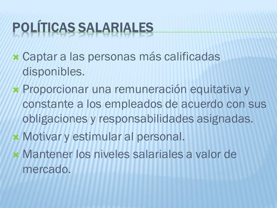 01/04/2017 Políticas SALARIALES. Captar a las personas más calificadas disponibles.