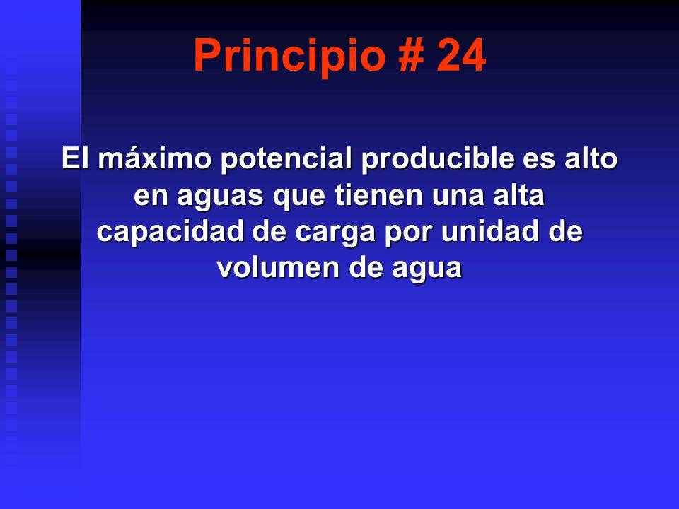 Principio # 24 El máximo potencial producible es alto en aguas que tienen una alta capacidad de carga por unidad de volumen de agua.