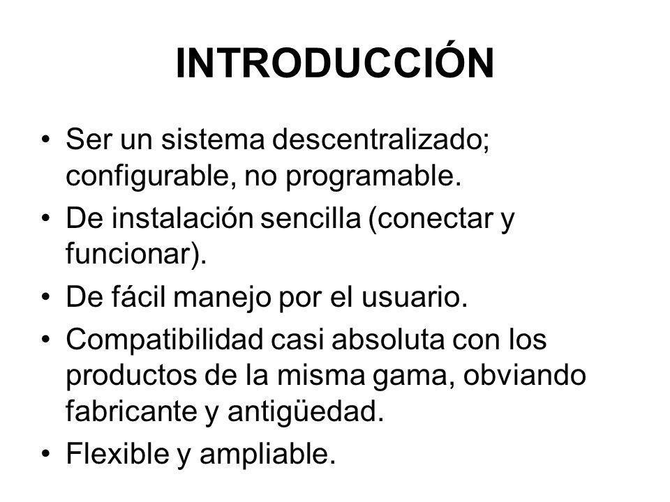 Introducción Ser un sistema descentralizado; configurable, no programable. De instalación sencilla (conectar y funcionar).