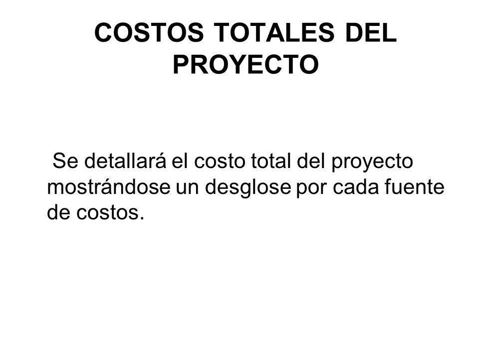 COSTOS TOTALES DEL PROYECTO