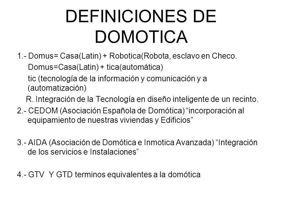 DEFINICIONES DE DOMOTICA