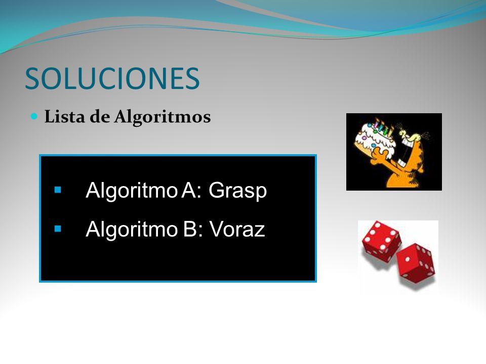 SOLUCIONES Lista de Algoritmos Algoritmo A: Grasp Algoritmo B: Voraz