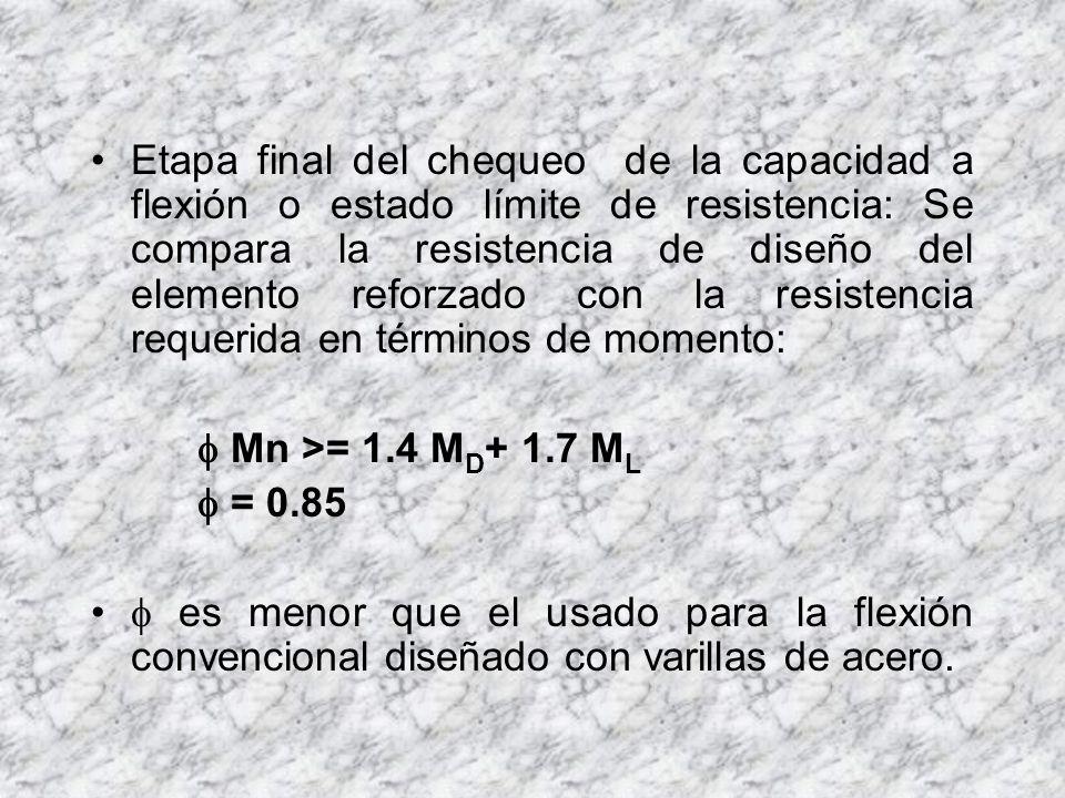Etapa final del chequeo de la capacidad a flexión o estado límite de resistencia: Se compara la resistencia de diseño del elemento reforzado con la resistencia requerida en términos de momento: