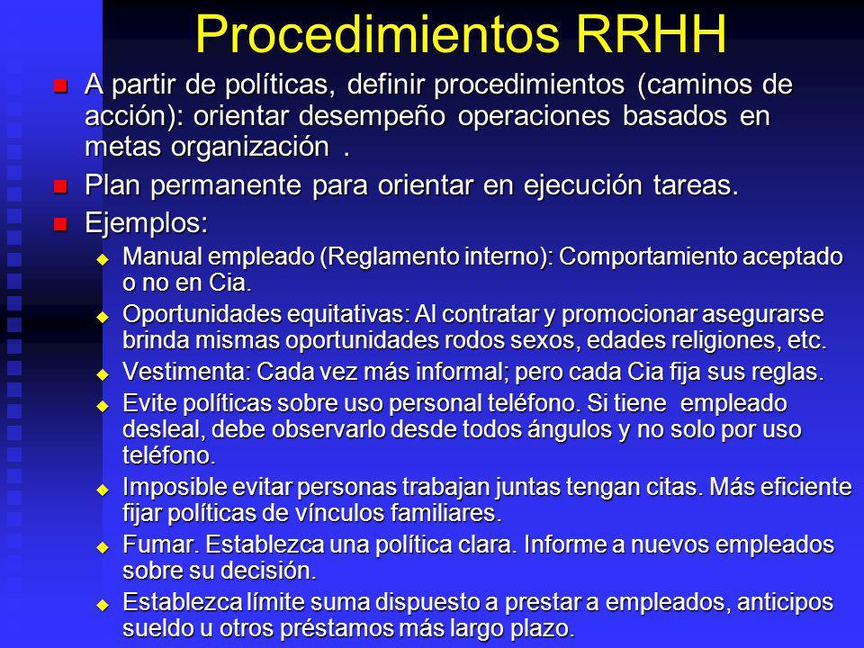 Procedimientos RRHH A partir de políticas, definir procedimientos (caminos de acción): orientar desempeño operaciones basados en metas organización .