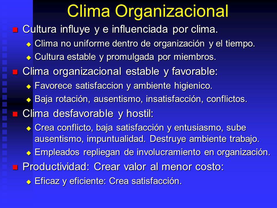 Clima Organizacional Cultura influye y e influenciada por clima.
