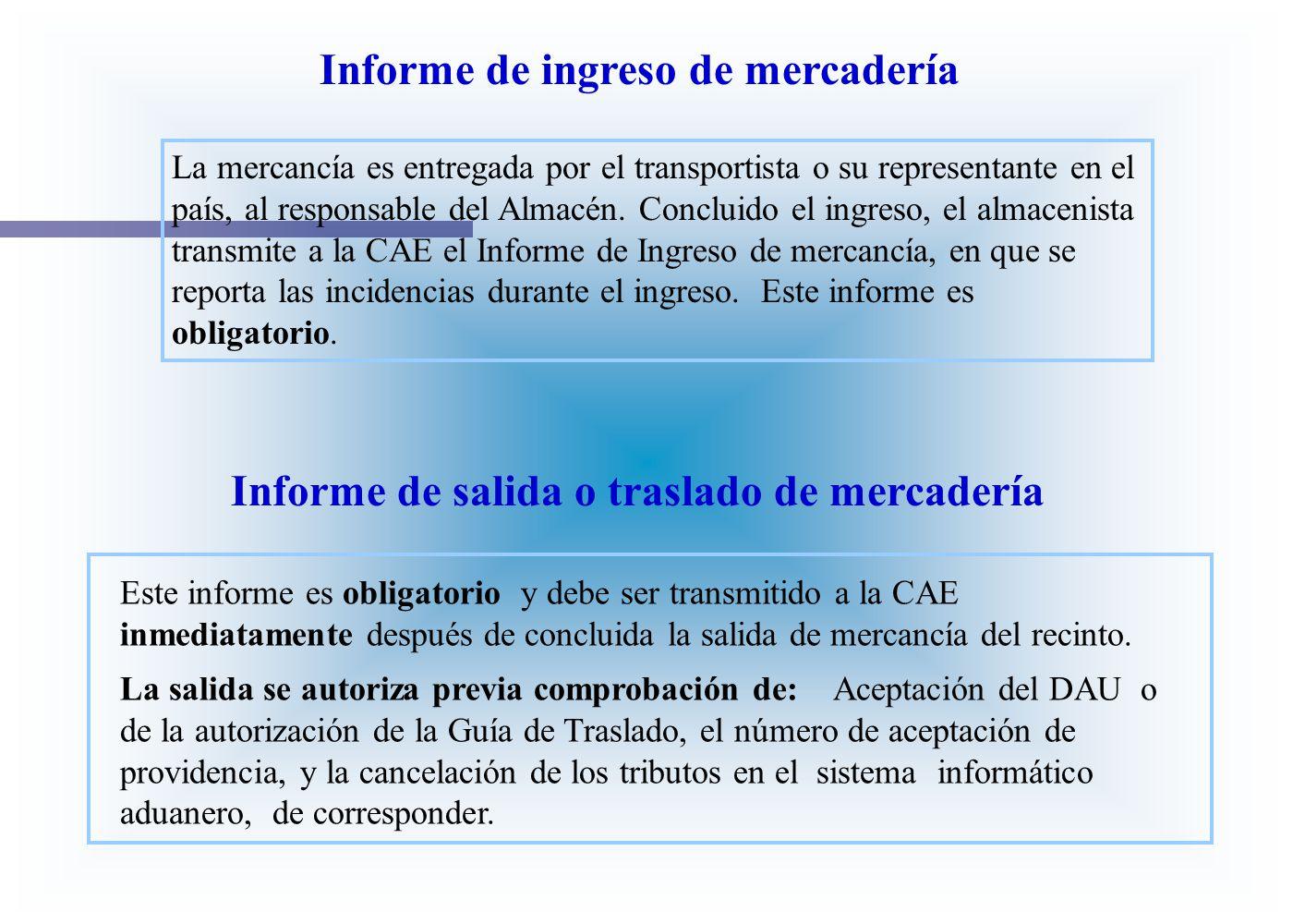 Informe de ingreso de mercadería