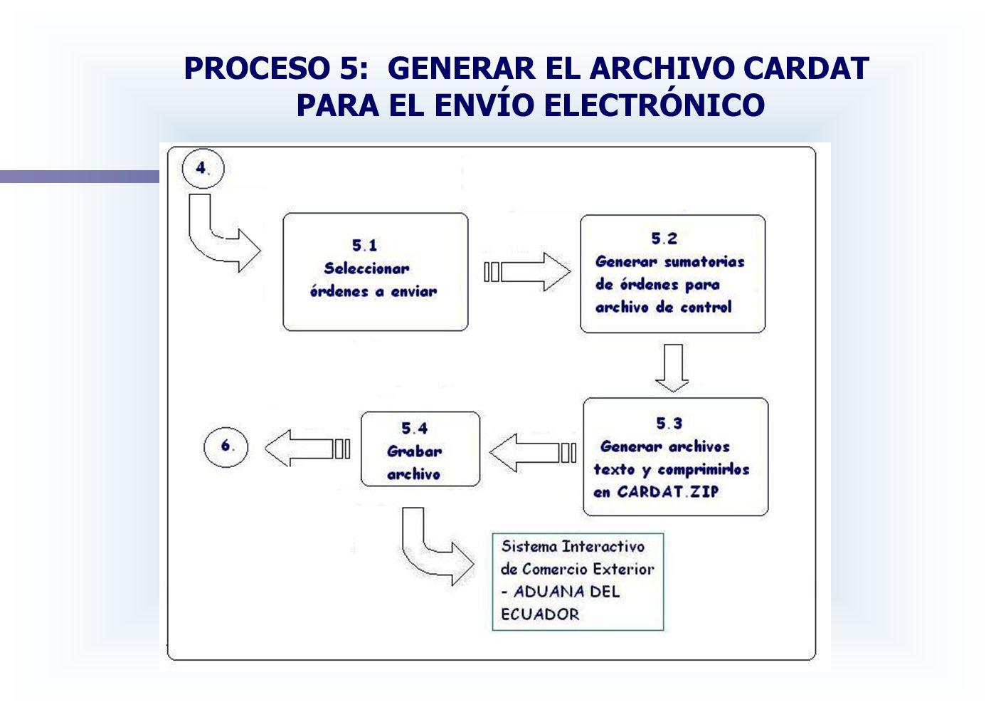 PROCESO 5: GENERAR EL ARCHIVO CARDAT