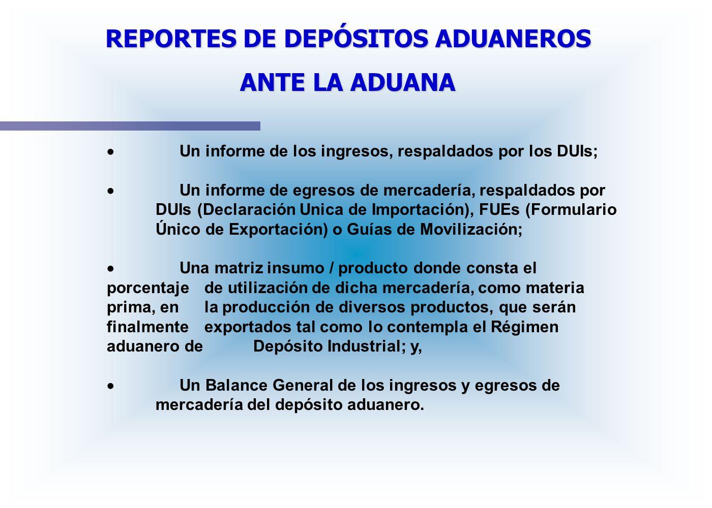 REPORTES DE DEPÓSITOS ADUANEROS