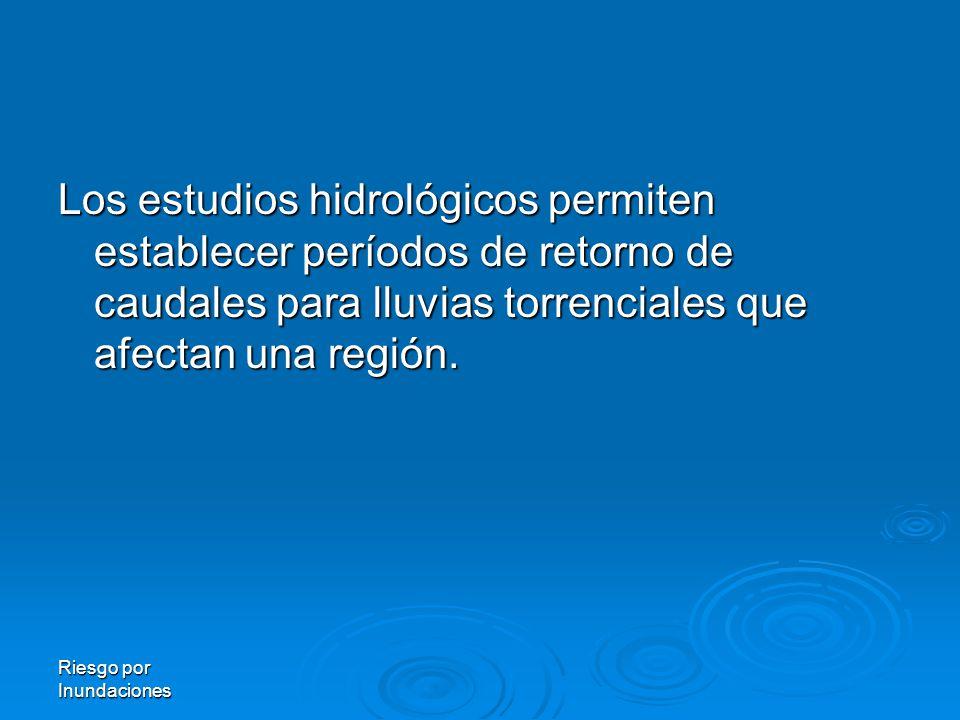 Los estudios hidrológicos permiten establecer períodos de retorno de caudales para lluvias torrenciales que afectan una región.