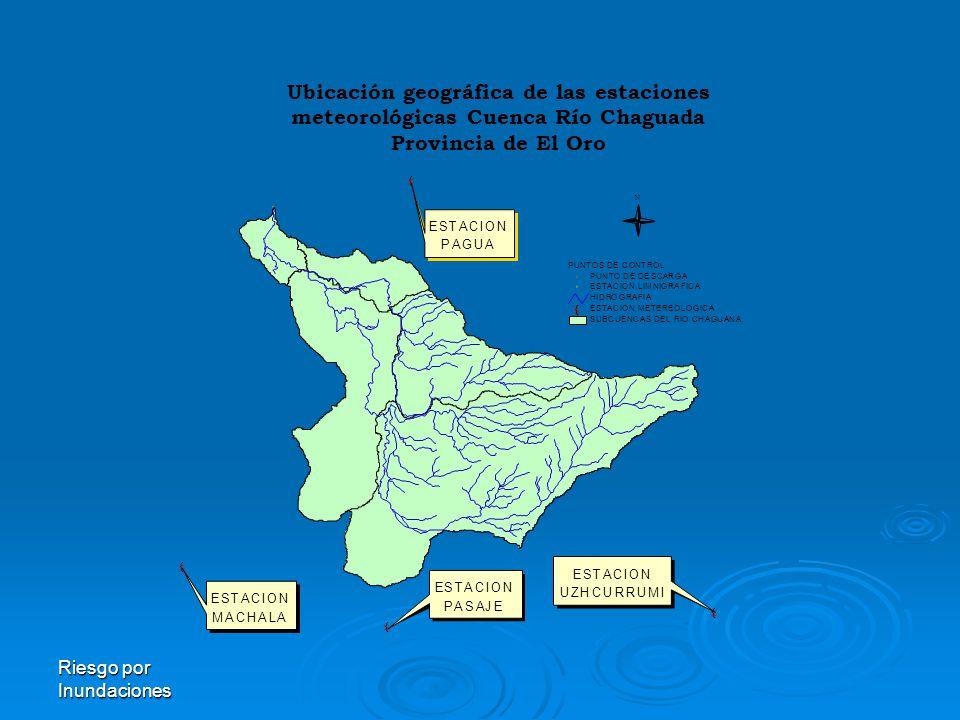 Ubicación geográfica de las estaciones meteorológicas Cuenca Río Chaguada Provincia de El Oro