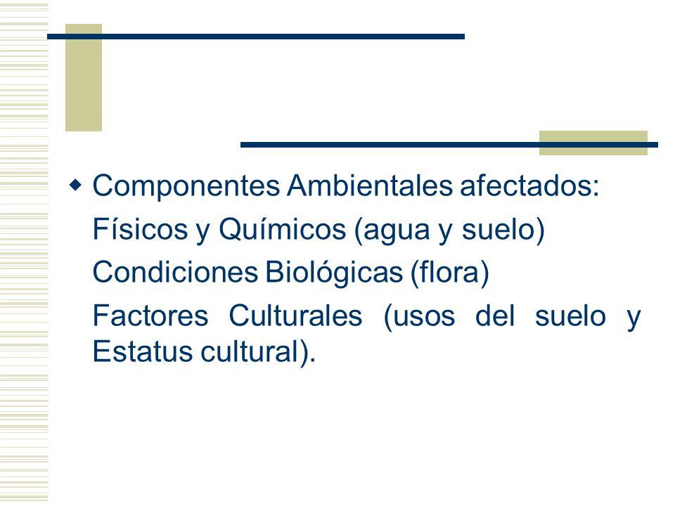 Componentes Ambientales afectados: