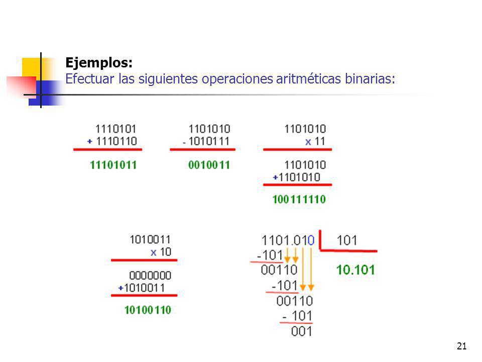 Ejemplos: Efectuar las siguientes operaciones aritméticas binarias: