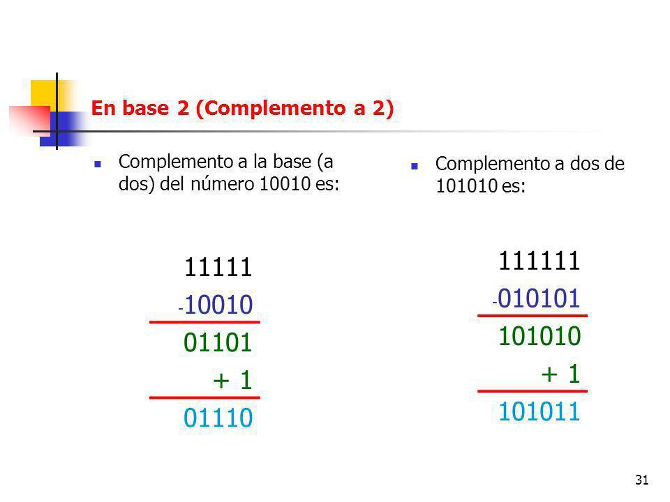 En base 2 (Complemento a 2)