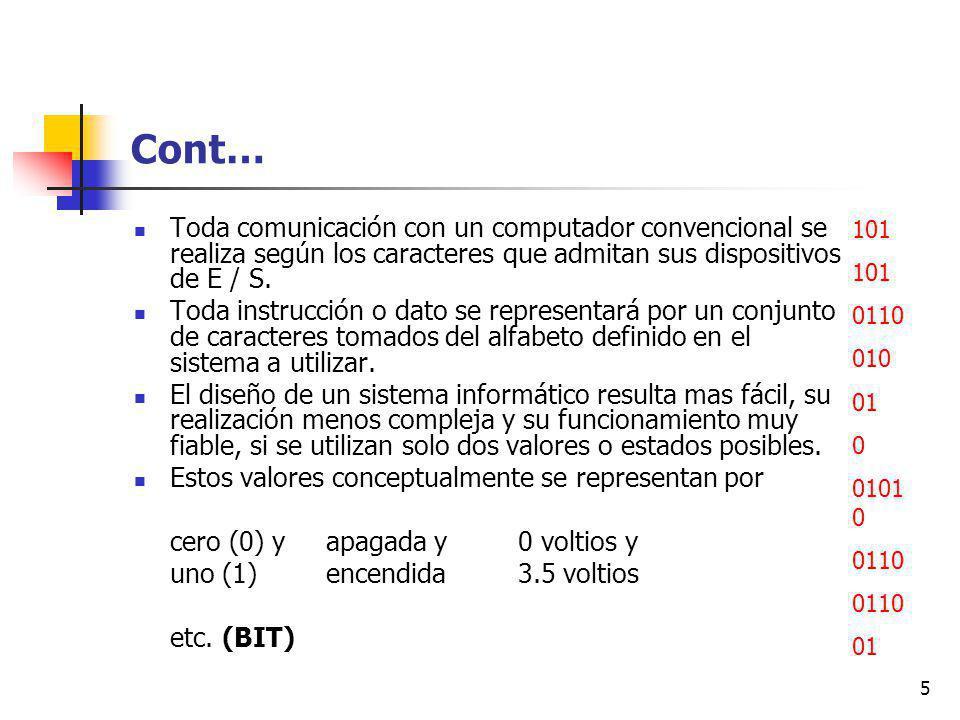 Cont… Toda comunicación con un computador convencional se realiza según los caracteres que admitan sus dispositivos de E / S.