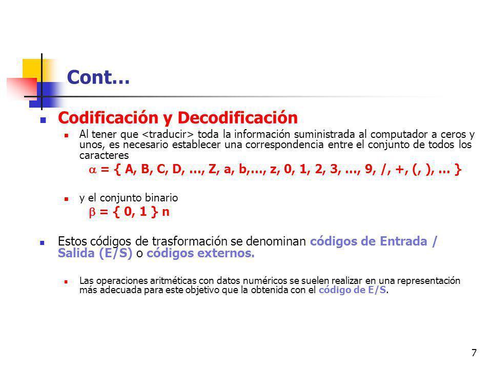 Cont… Codificación y Decodificación