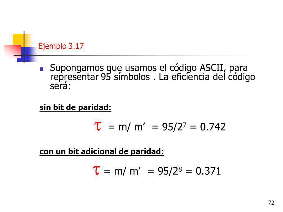 Ejemplo 3.17 Supongamos que usamos el código ASCII, para representar 95 símbolos . La eficiencia del código será: