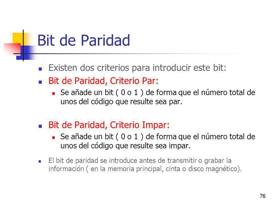 Bit de Paridad Existen dos criterios para introducir este bit: