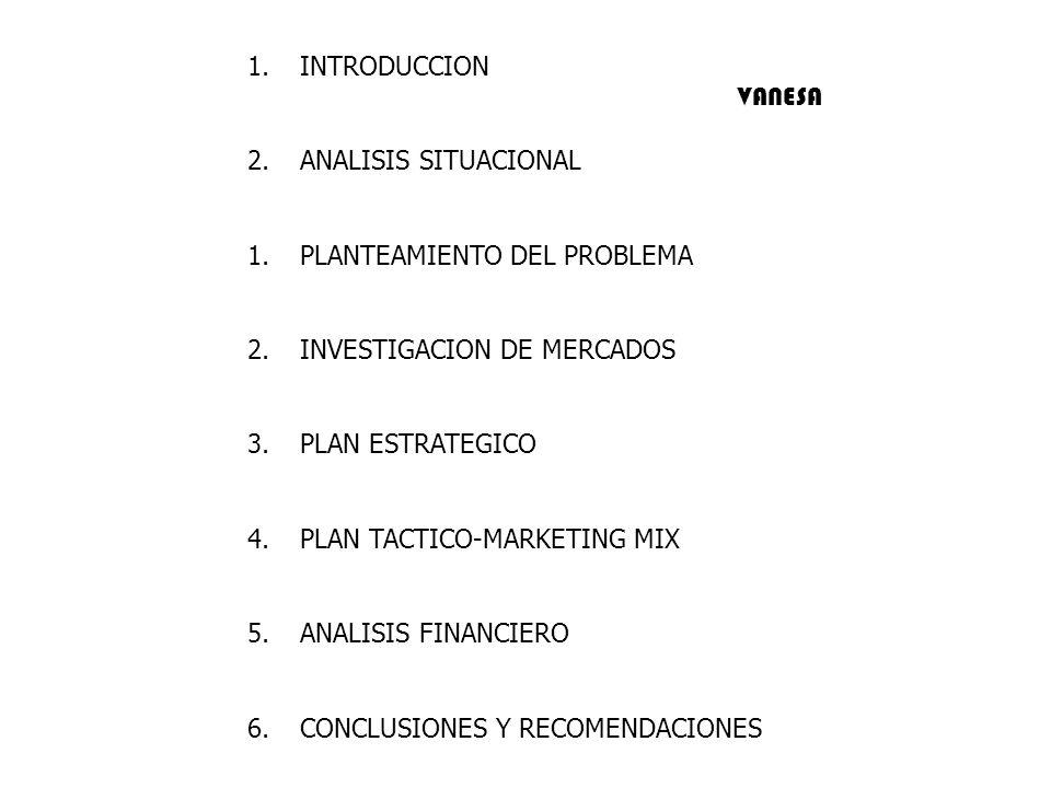 INTRODUCCION ANALISIS SITUACIONAL. PLANTEAMIENTO DEL PROBLEMA. INVESTIGACION DE MERCADOS. PLAN ESTRATEGICO.