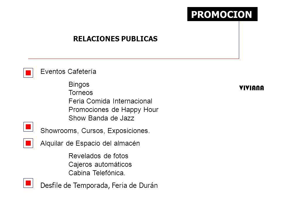 PROMOCION RELACIONES PUBLICAS Eventos Cafetería
