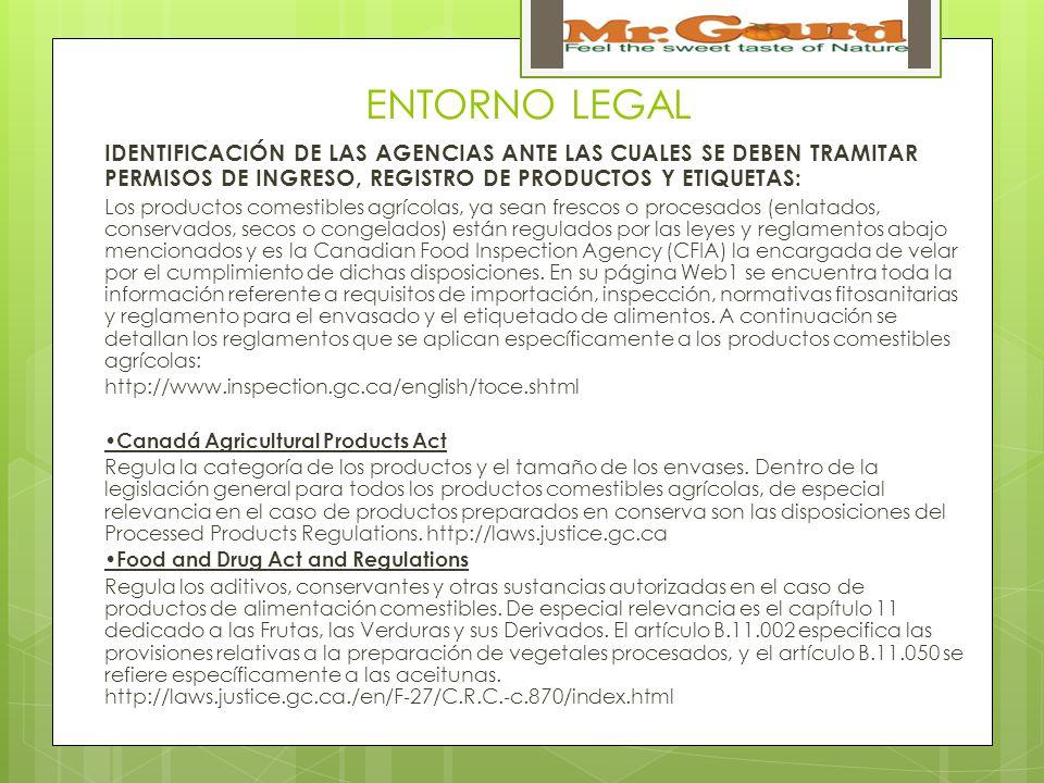 ENTORNO LEGAL IDENTIFICACIÓN DE LAS AGENCIAS ANTE LAS CUALES SE DEBEN TRAMITAR PERMISOS DE INGRESO, REGISTRO DE PRODUCTOS Y ETIQUETAS: