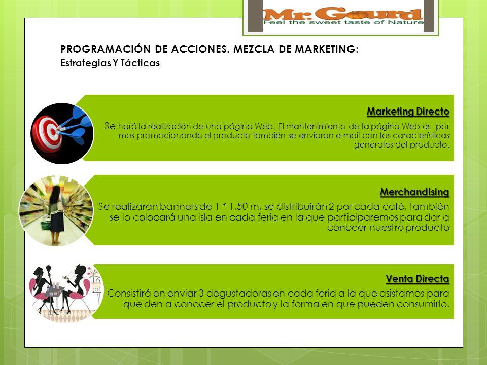 PROGRAMACIÓN DE ACCIONES. MEZCLA DE MARKETING:
