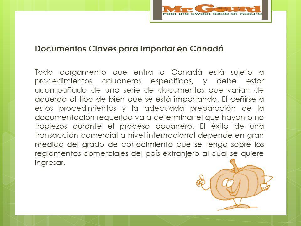 Documentos Claves para Importar en Canadá