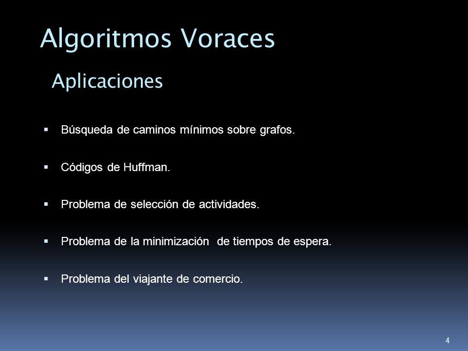 Algoritmos Voraces Aplicaciones