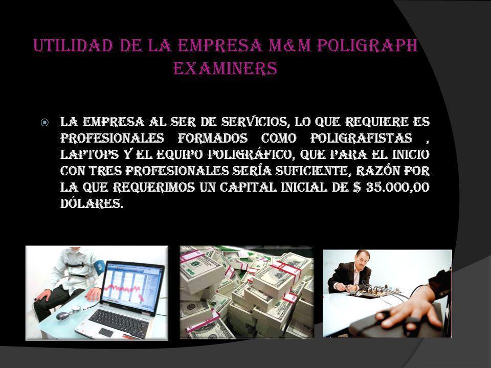 Utilidad de la empresa M&M Poligraph Examiners