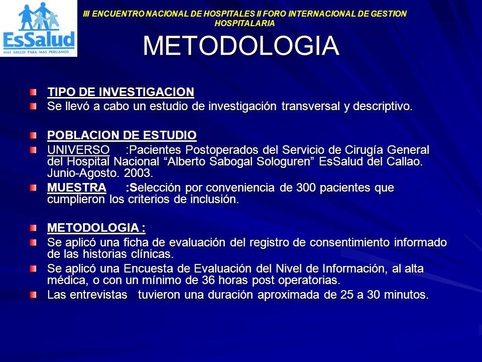 METODOLOGIA TIPO DE INVESTIGACION