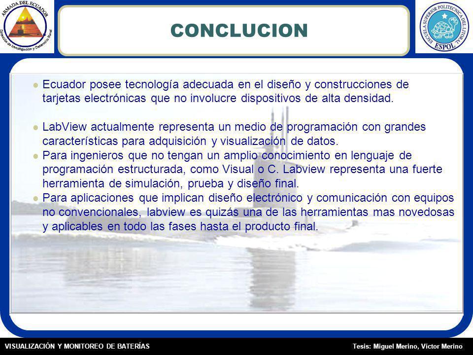 CONCLUCION Ecuador posee tecnología adecuada en el diseño y construcciones de. tarjetas electrónicas que no involucre dispositivos de alta densidad.