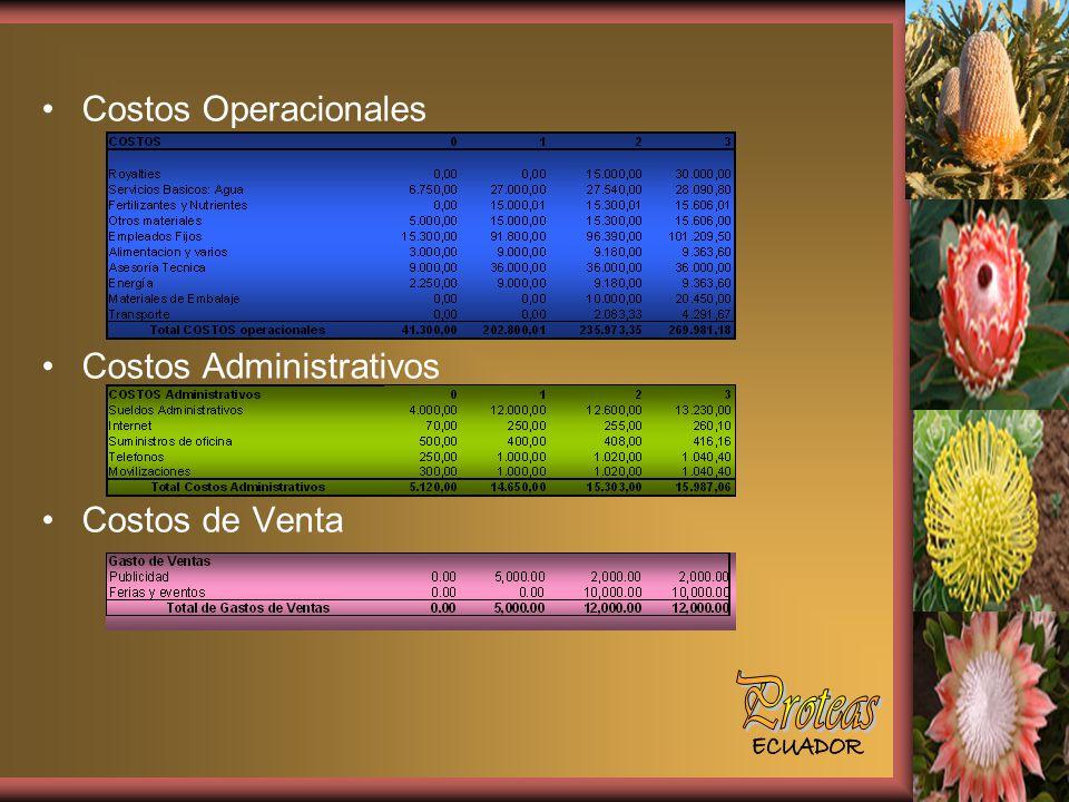 Proteas Costos Operacionales Costos Administrativos Costos de Venta