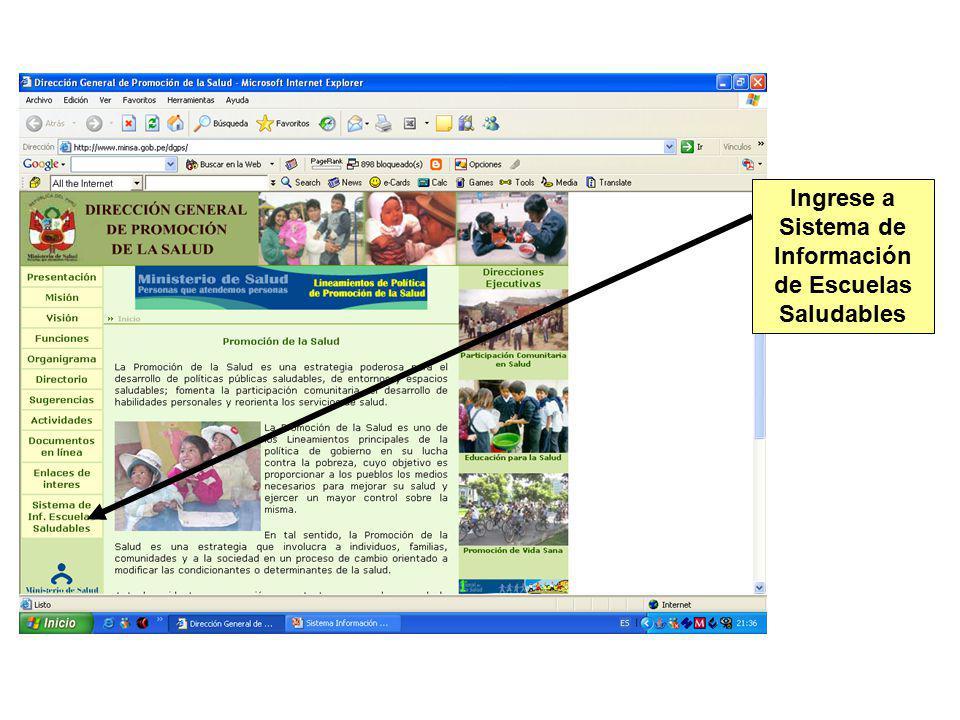 Ingrese a Sistema de Información de Escuelas Saludables