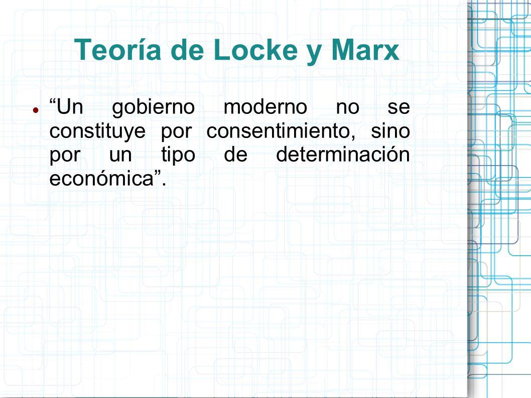 Teoría de Locke y Marx Un gobierno moderno no se constituye por consentimiento, sino por un tipo de determinación económica .
