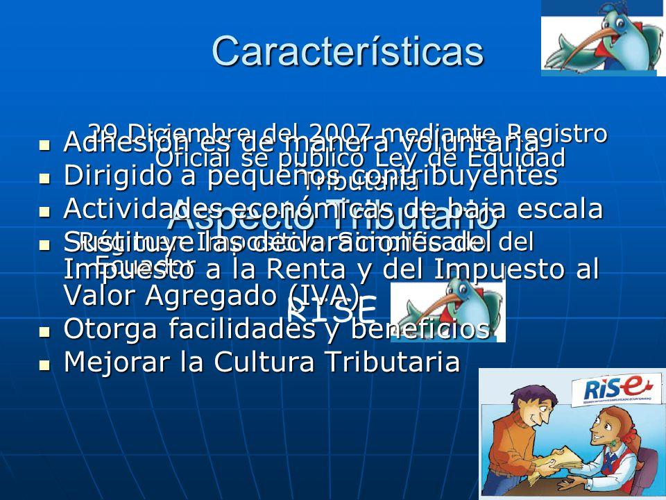 Características Aspecto Tributario RISE