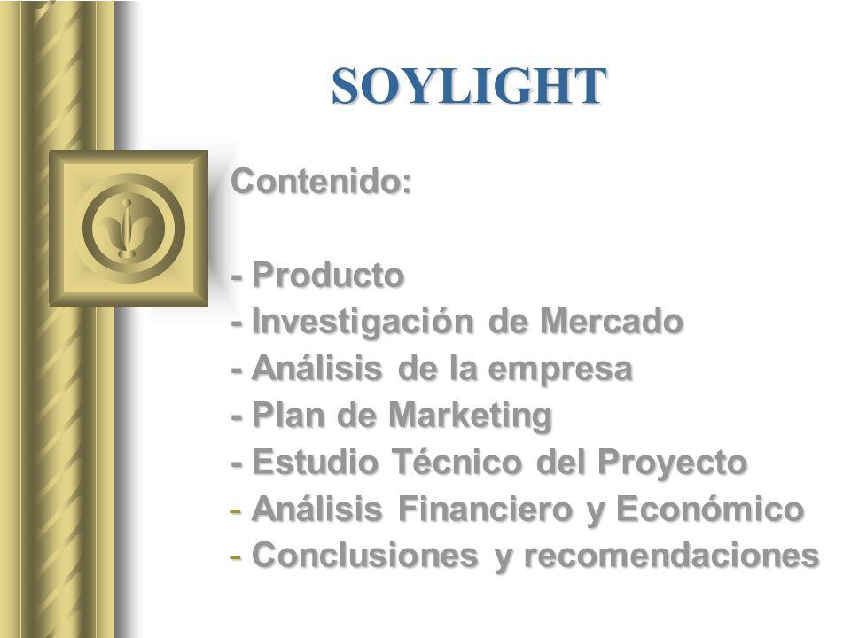 SOYLIGHT Contenido: - Producto - Investigación de Mercado