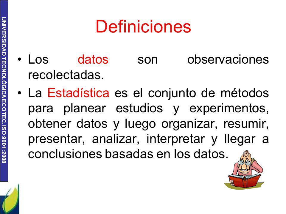 Definiciones Los datos son observaciones recolectadas.