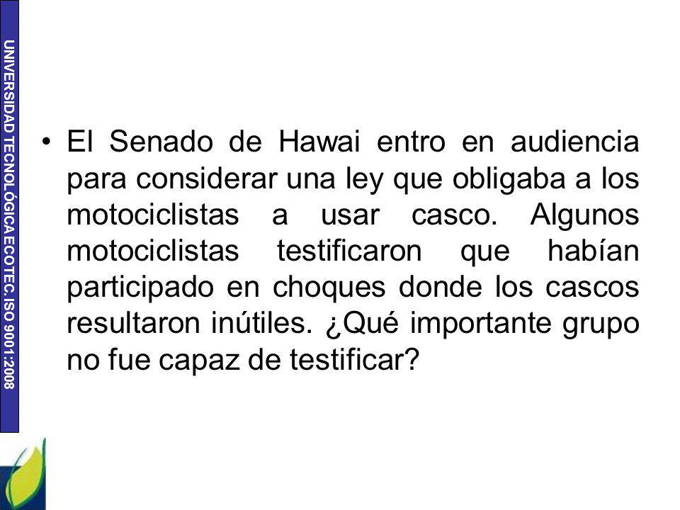 El Senado de Hawai entro en audiencia para considerar una ley que obligaba a los motociclistas a usar casco.