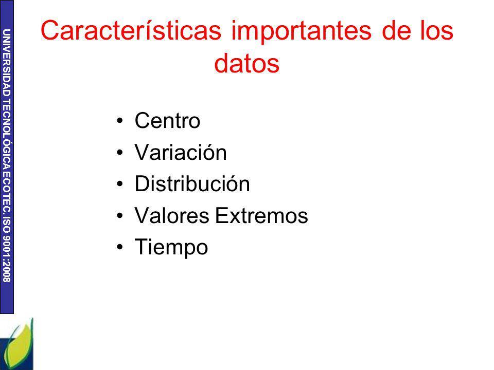 Características importantes de los datos