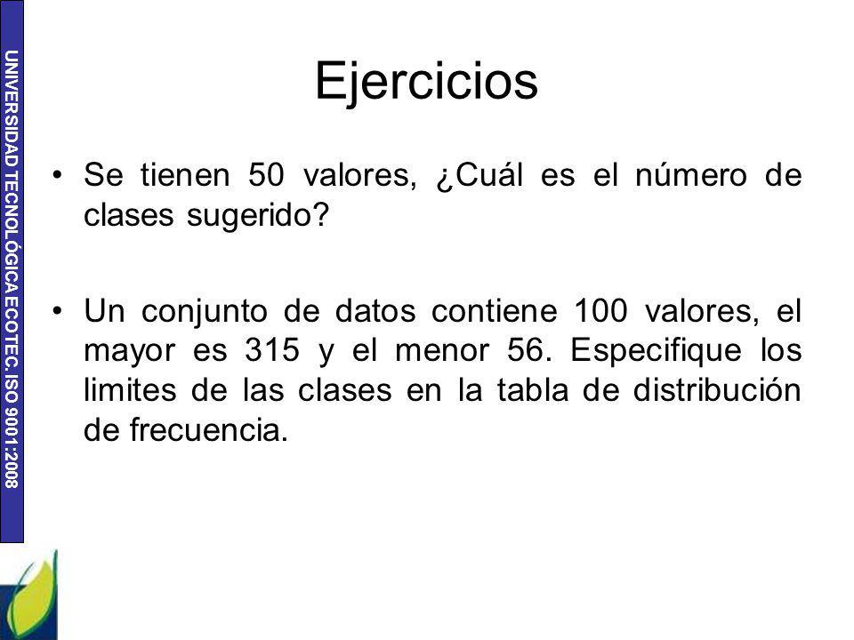 Ejercicios Se tienen 50 valores, ¿Cuál es el número de clases sugerido