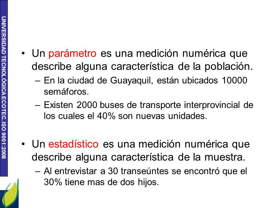 Un parámetro es una medición numérica que describe alguna característica de la población.