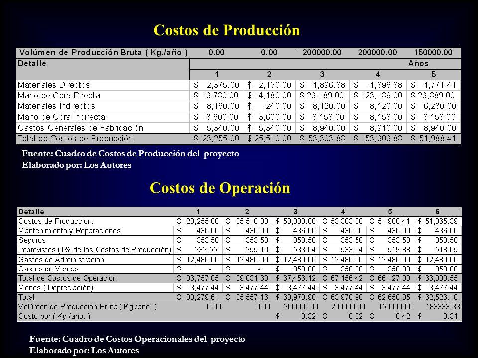 Costos de Producción Costos de Operación