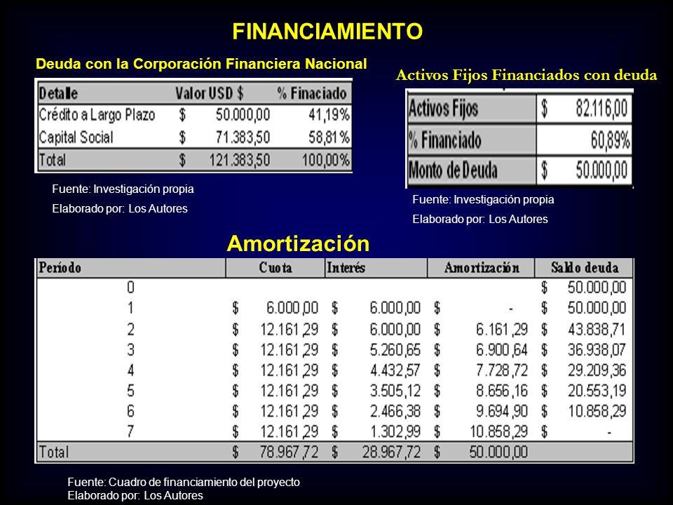 FINANCIAMIENTO Amortización Activos Fijos Financiados con deuda
