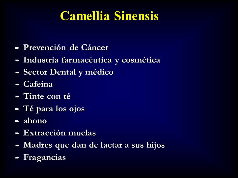 Camellia Sinensis Prevención de Cáncer