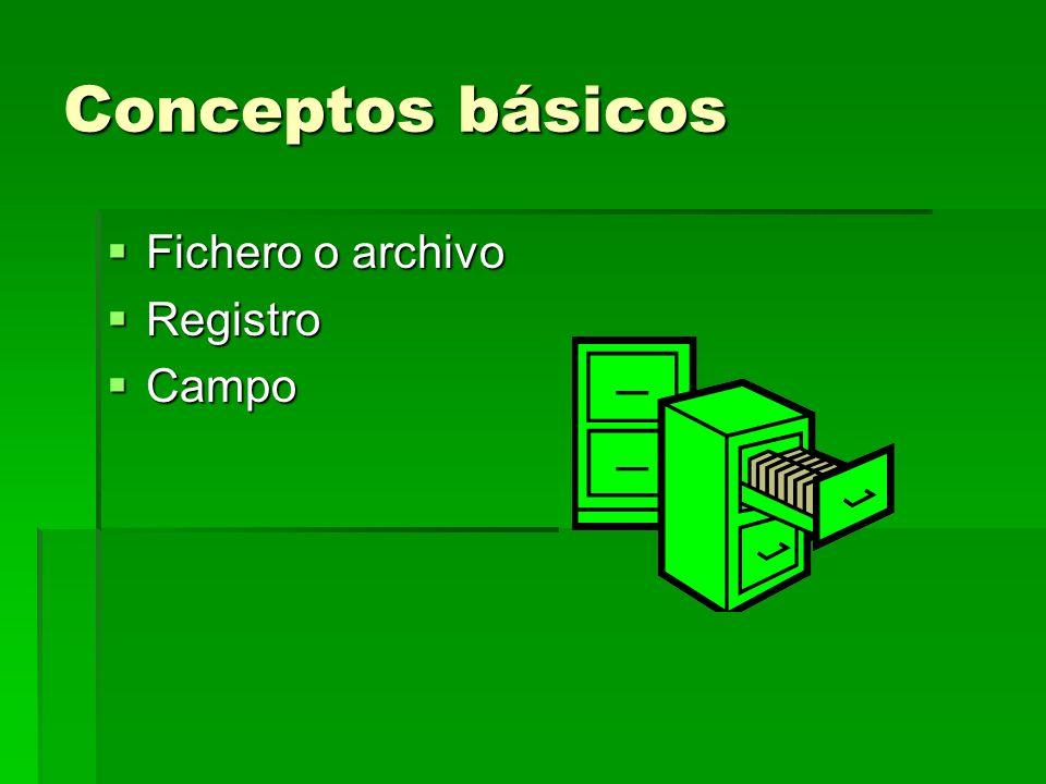 Conceptos básicos Fichero o archivo Registro Campo