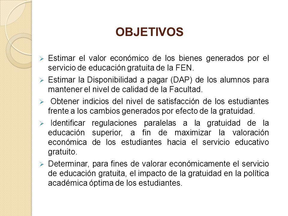 OBJETIVOS Estimar el valor económico de los bienes generados por el servicio de educación gratuita de la FEN.