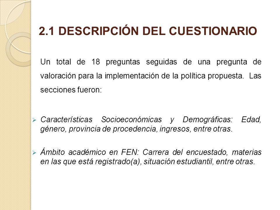 2.1 DESCRIPCIÓN DEL CUESTIONARIO