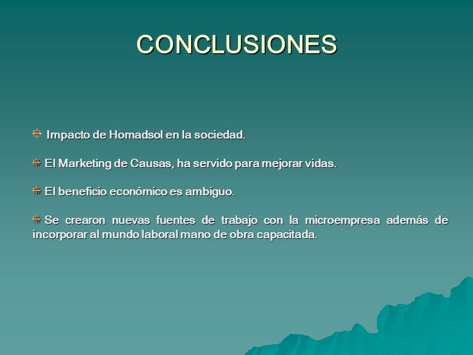 CONCLUSIONES Impacto de Homadsol en la sociedad.