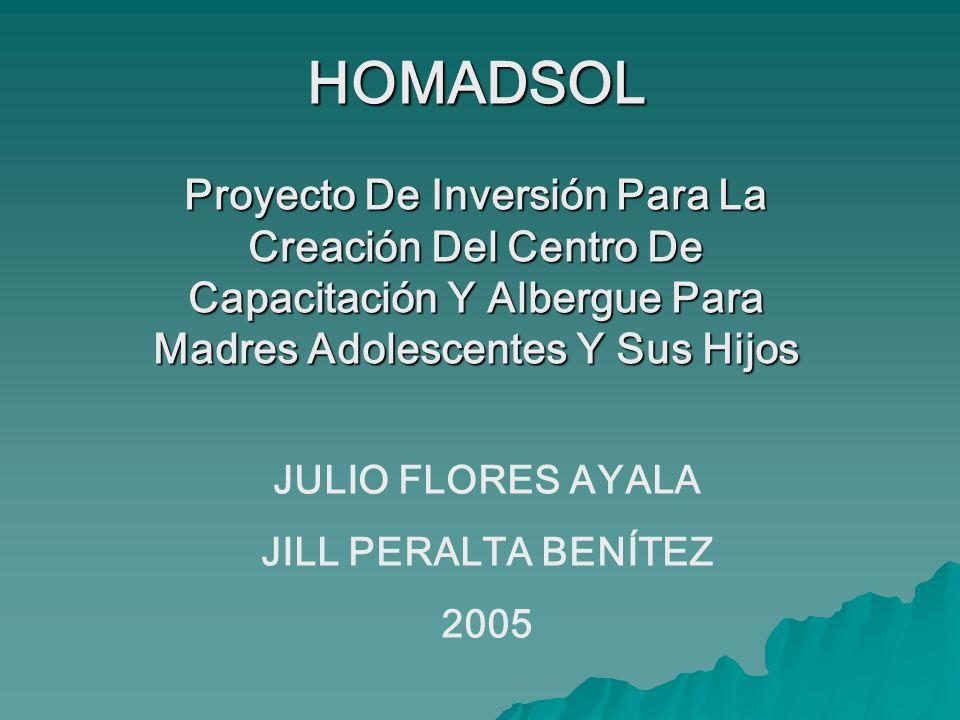 HOMADSOL Proyecto De Inversión Para La Creación Del Centro De Capacitación Y Albergue Para Madres Adolescentes Y Sus Hijos.