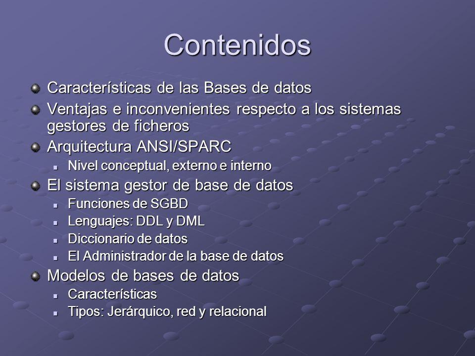 Contenidos Características de las Bases de datos